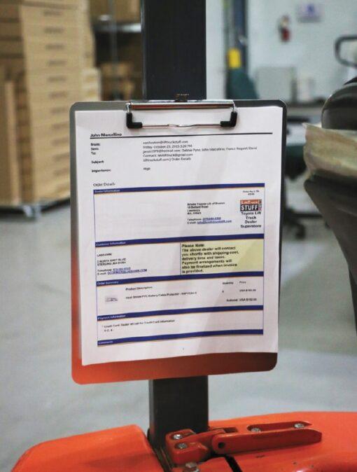 Magnetic Clipboard on Forklift Mast