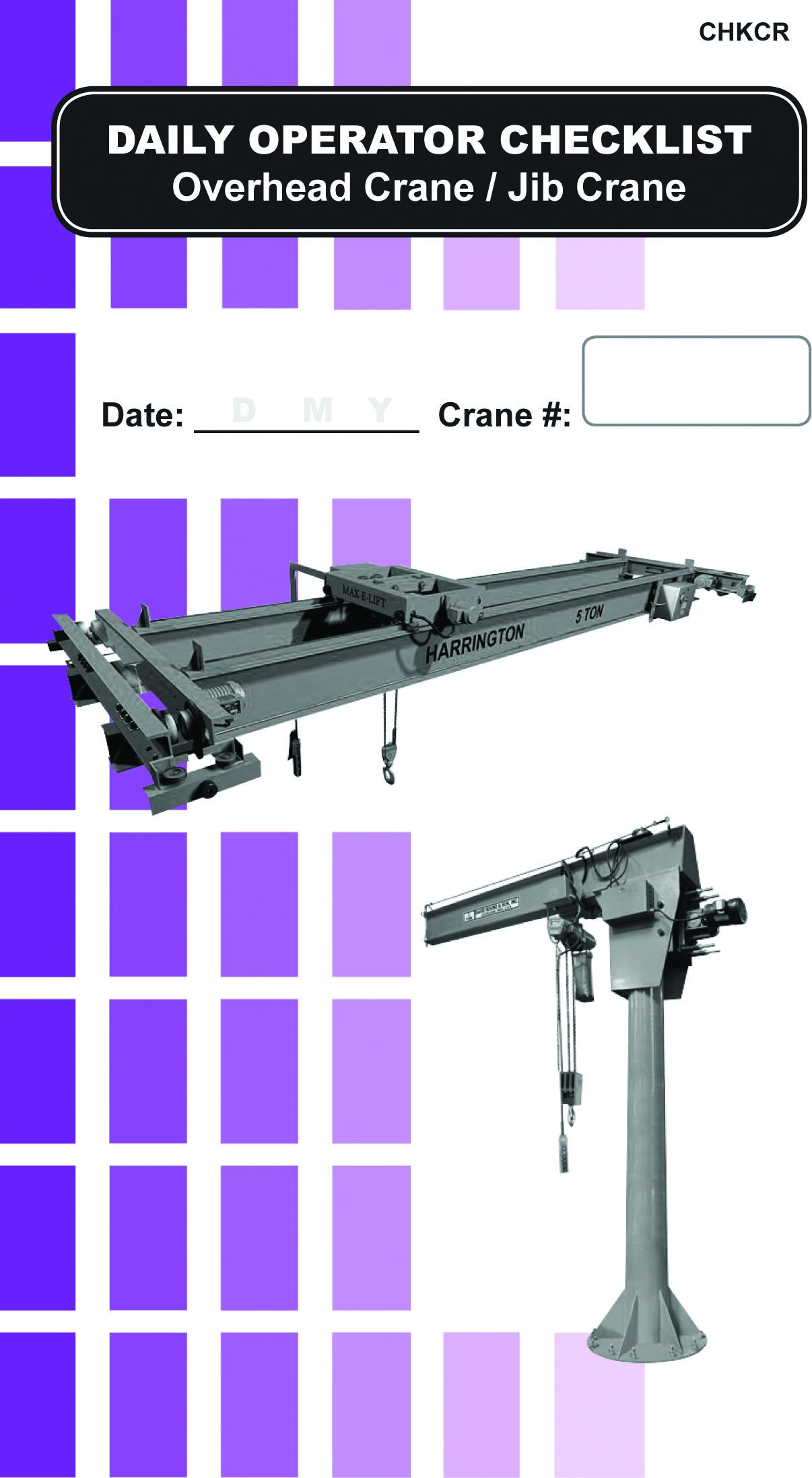 Jib Crane Maintenance Checklist : Overhead crane jib daily checklist caddy first quality forklift training