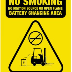 Safety Sign No Smoking Battery Changing