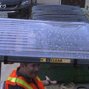 ClearCap Forklift Cover Repels Rain