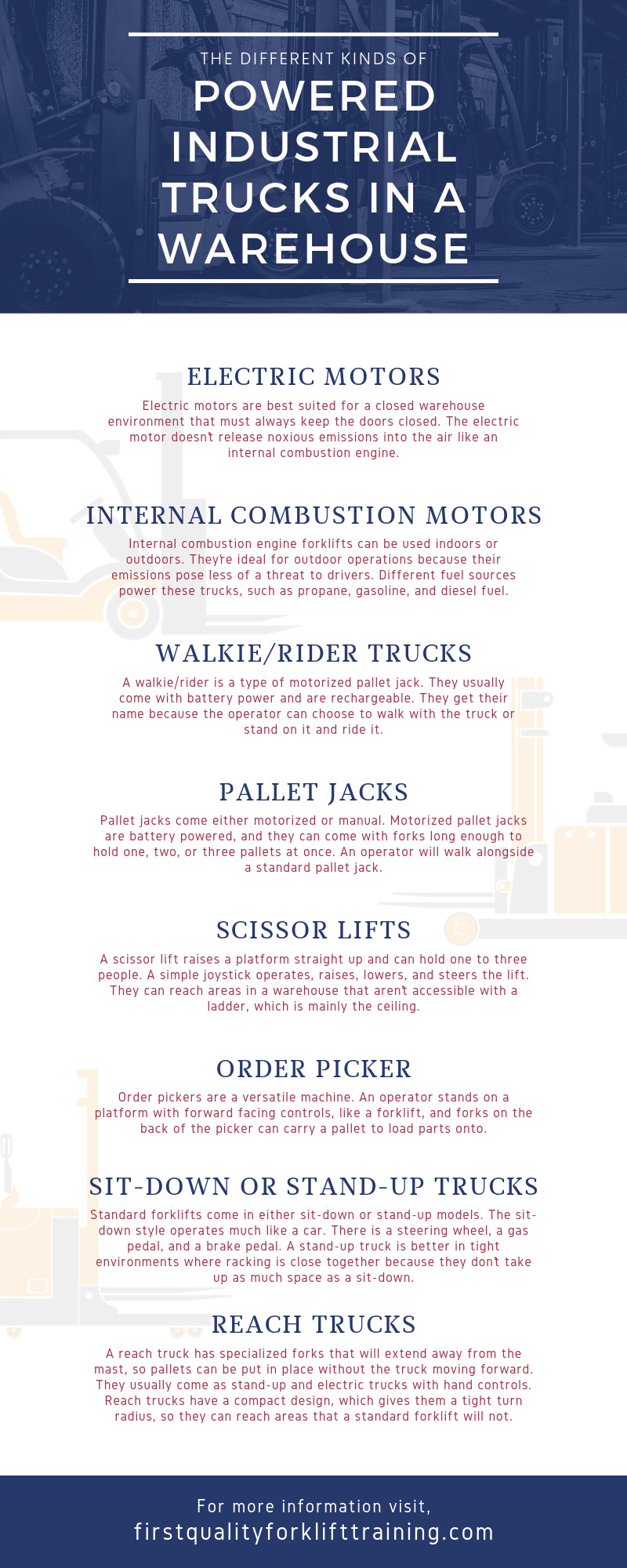 The Different Kinds of Powered Industrial Trucks in a Warehouse infographic